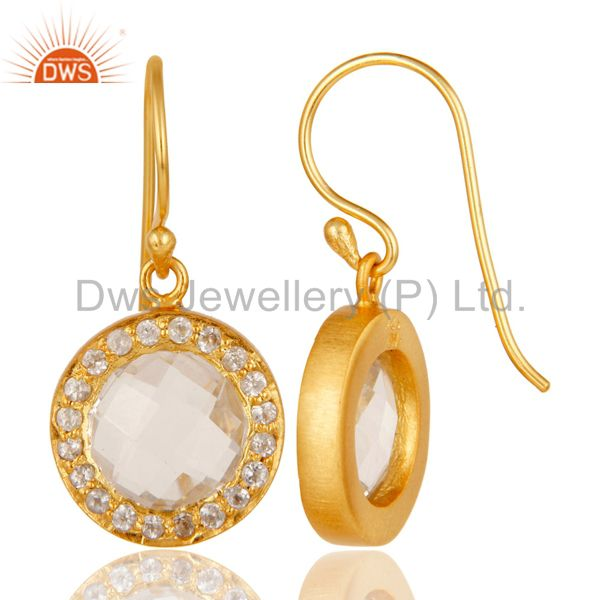Designers 18K Gold Plated Sterling Silver Crystal Quartz & Topaz Halo Style Drop Earrings