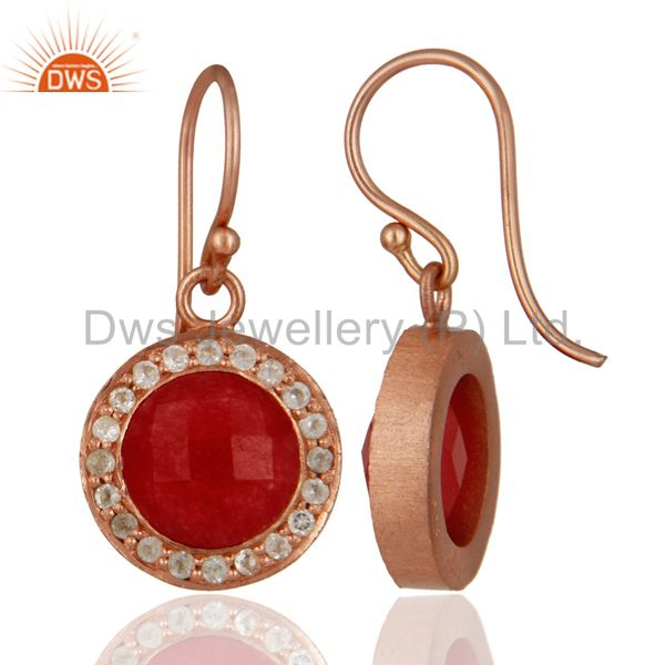 Suppliers 18K Rose Gold Plated Red Aventurine And White Topaz Halo Drop Earrings