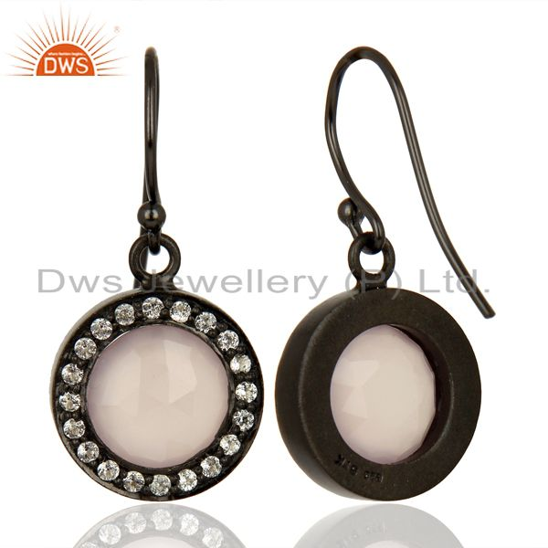 Suppliers Rose Chalcedony White Topaz Dangle Black Oxidized 925 Sterling Silver Earrings
