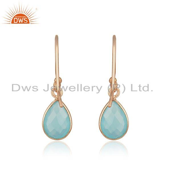 Suppliers Aqua Chalcedony Gemstone Rose Gold Plated 925 Silver Earrings Supplier