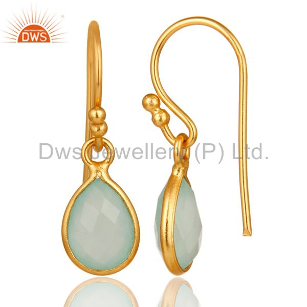Designers Aqua Chalcedony Gemstone Drop Earrings in 14K Yellow Gold Over Sterling Silver