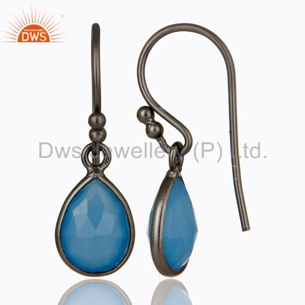 Designers Oxidized Sterling Silver Faceted Blue Chalcedony Bezel Set Teardrop Earrings