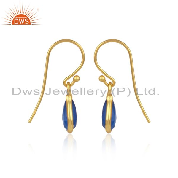 Designers Faceted Dyed Chalcedony Gemstone Sterling Silver Drop Earrings - Gold Plated