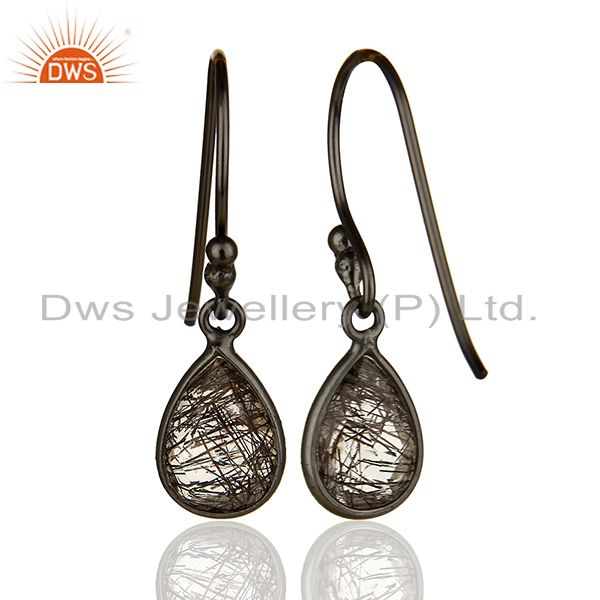 Suppliers Handmade 925 Silver Black Rutile Gemstone Girls Drop Earrings Jewelry