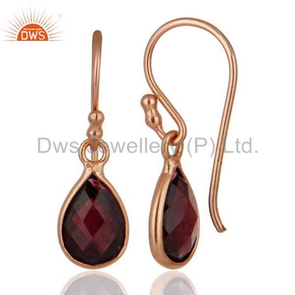 Designers 18K Rose Gold Plated Sterling Silver Garnet Bezel Set Drop Pendant With Chain