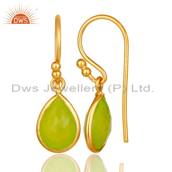 Designers 18K Yellow Gold Plated Sterling Silver Green Chalcedony Bezel Set Dangle Earring