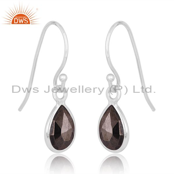 Suppliers Hematite Gemstone 925 Silver Tiny Drop Earrings Jewelry Manufacturer