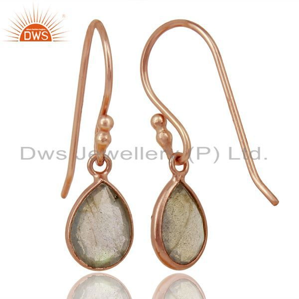Suppliers 18K Rose Gold Plated Sterling Silver Faceted Labradorite Bezel Set Drop Earrings