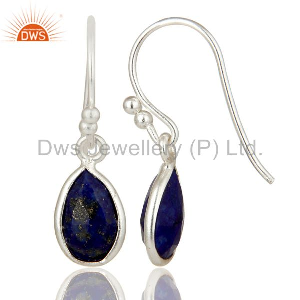 Designers Natural Lapis Lazuli Gemstone 925 Sterling Silver Earrings