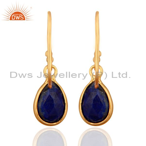 Designers Natural Lapis Lazuli Gemstone 925 Sterling Silver Earrings With 24k Gold Plated