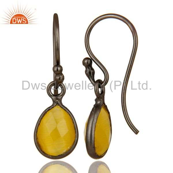 Designers Oxidized Sterling Silver Faceted Yellow Moonstone Bezel Set Teardrop Earrings