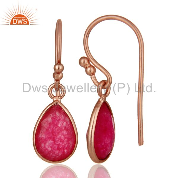 Designers 18K Rose Gold Plated Sterling Silver Red Aventurine Bezel Set Teardrop Earrings