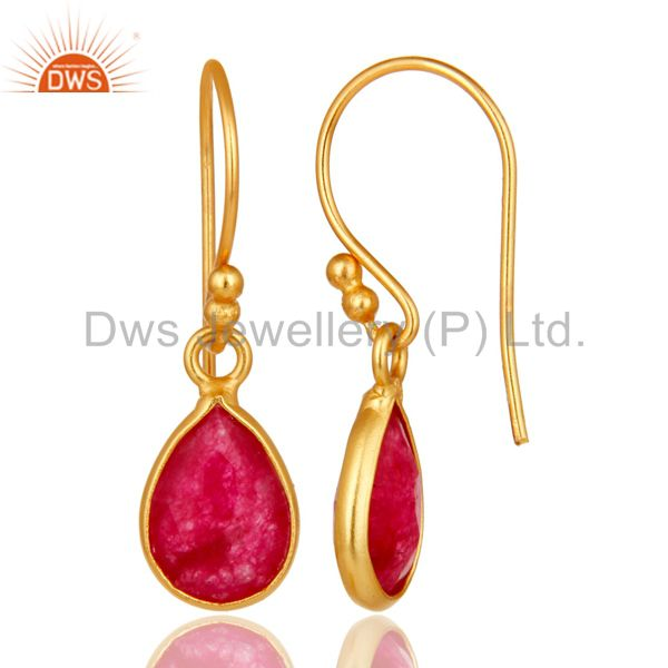 Designers 18K Yellow Gold Plated Sterling Silver Red Aventurine Bezel Set Dangle Earrings