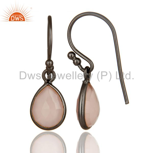 Designers Oxidized Sterling Silver Rose Chalcedony Gemstone Bezel Set Teardrop Earrings