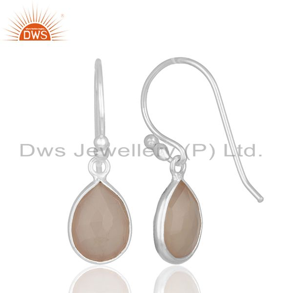 Suppliers Handmade 925 Silver Rose Chalcedony Gemstone Drop Earrings Wholesale