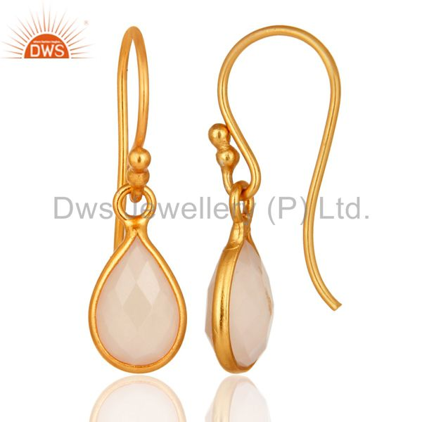 Designers 18K Yellow Gold Plated Sterling Silver Rose Chalcedony Bezel Set Dangle Earrings