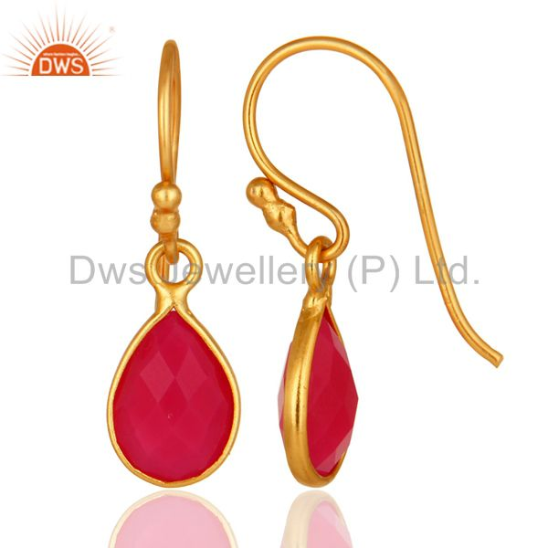 Designers 18K Yellow Gold Plated Sterling Silver Pink Chalcedony Bezel Set Drop Earrings