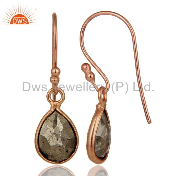Designers 18K Rose Gold Plated Sterling Silver Pyrite Bezel Set Teardrop Earrings