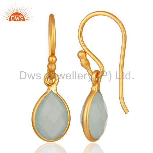 Designers 18K Yellow Gold Plated Dyed Aqua Chalcedony Gemstone Bezel Set Drop Earrings