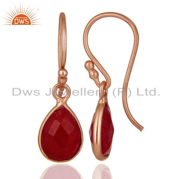 Designers 18K Rose Gold Plated Sterling Silver Dyed Ruby Gemstone Bezel Teardrop Earrings