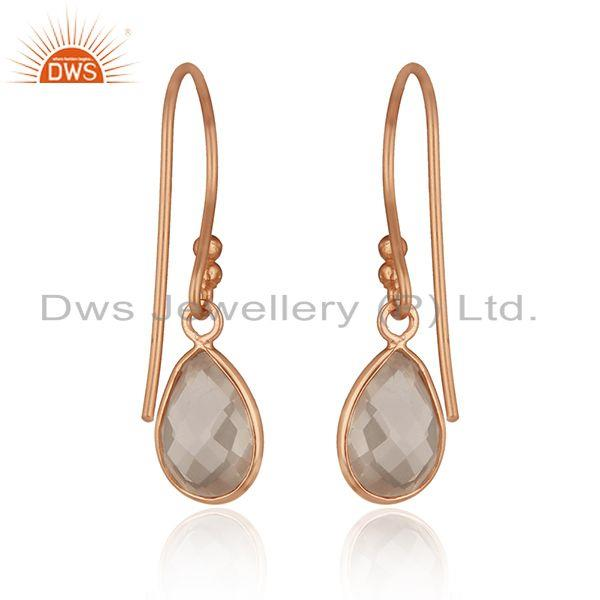 Suppliers Handmade Rose Gold Plated 925 Silver Quartz Gemstone Earring Wholesale