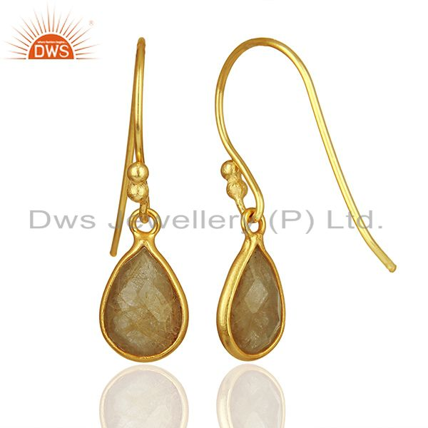 Suppliers Golden Rutile Gemstone Gold Plated 925 Silver Drop Earrings Jewelry