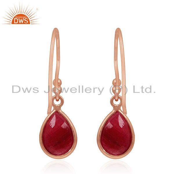 Suppliers Rose Gold Plated 925 Silver Ruby Corundum Gemstone Drop Earrings Manufacturers
