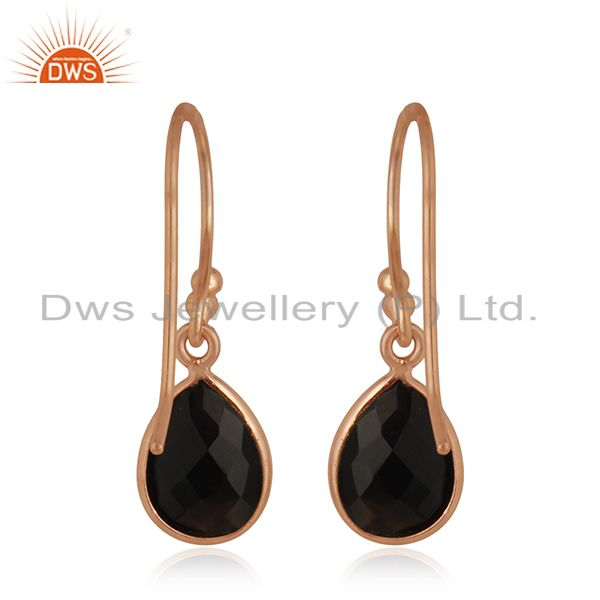 Suppliers 18K Rose Gold Plated Sterling Silver Black Onyx Bezel Set Teardrop Earrings