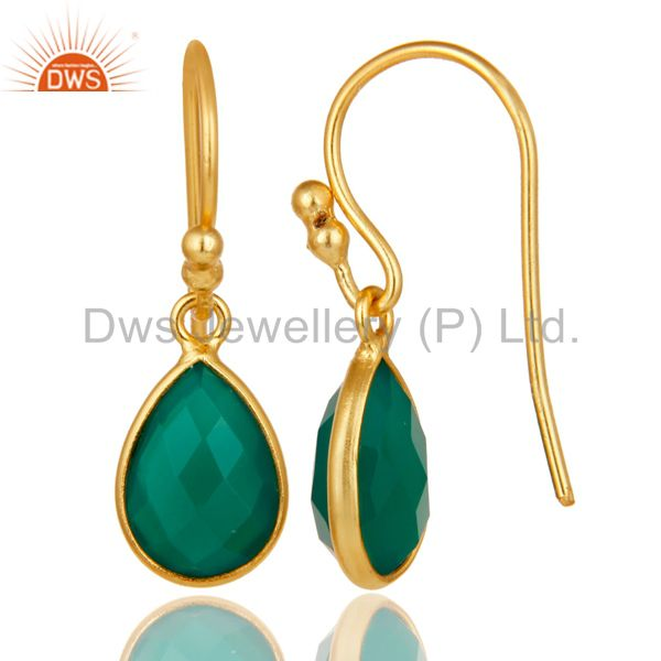 Designers 18K Yellow Gold Plated Sterling Silver Green Onyx Gemstone Dangle Earrings