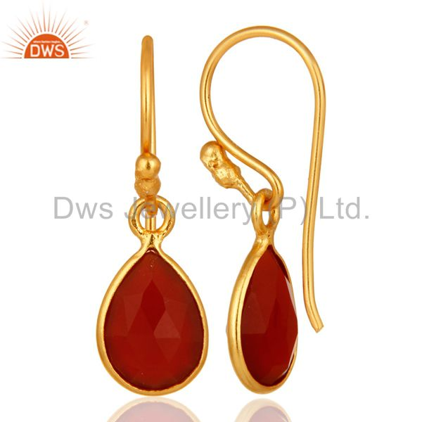 Designers 18K Yellow Gold Plated Sterling Silver Red Onyx Gemstone Dangle Earrings