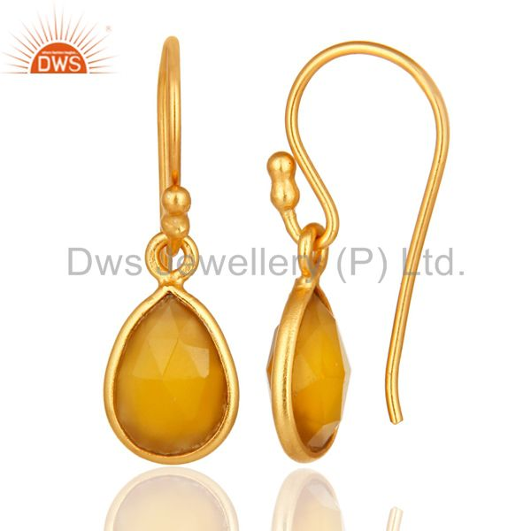 Designers Yellow Chalcedony Gemstone Drop Earrings In 18K Gold Over Sterling Silver