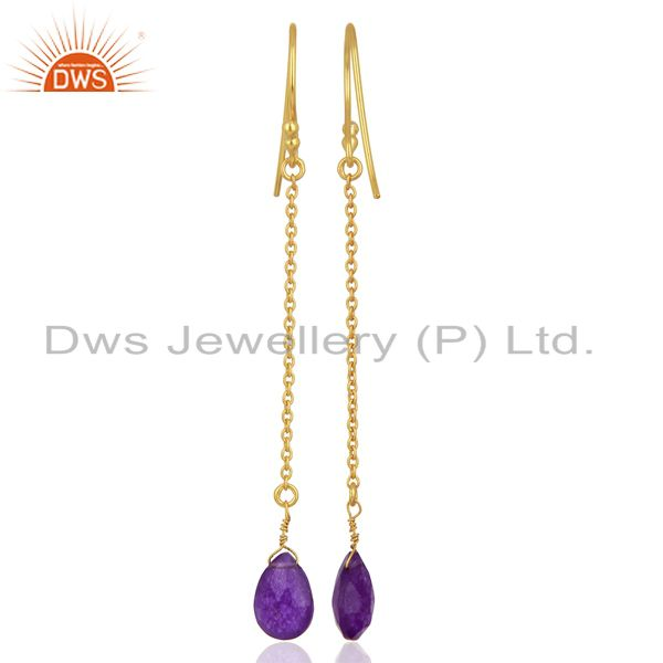 Suppliers Gold Plated Aventurine Gemstone 925 Sterling Silver Chain Earrings