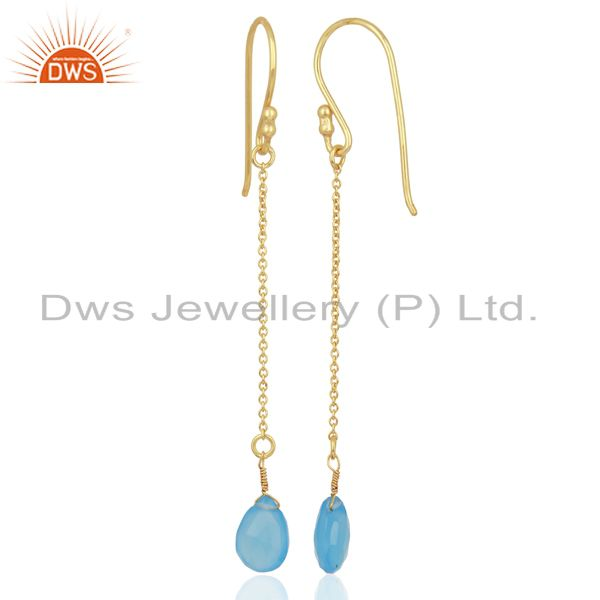 Suppliers Blue Chalcedony Simple Chain Gold Plated Wholesale Earring Jewelry