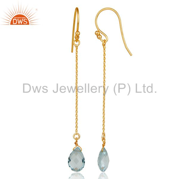 Designers 925 Sterling Silver Blue Topaz Briolette Link Chain Dangle Earrings
