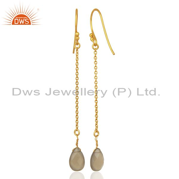 Suppliers Gray Chalcedony Gemstone Gold Plated Silver Earrings Manufacturer