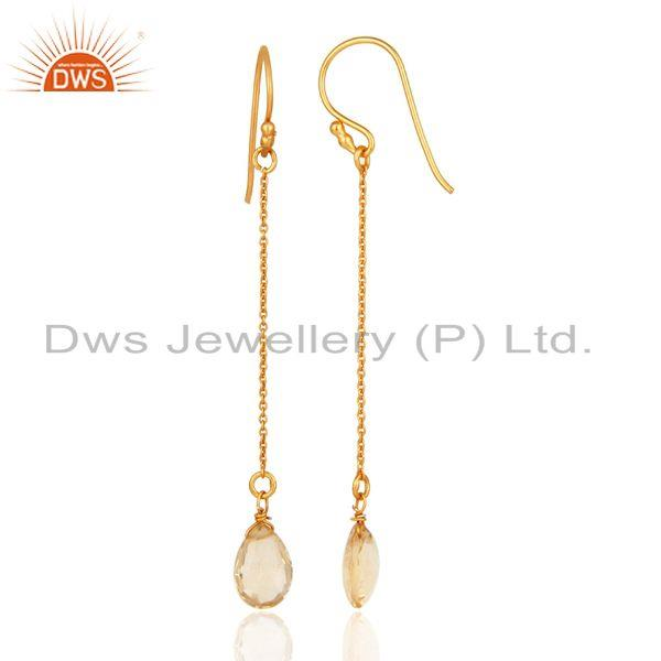 Designers 18K Yellow Gold Plated Sterling Silver Natural Citrine Briolette Chain Earrings