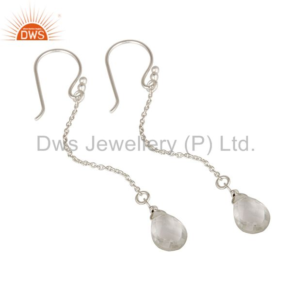 Designers Solid Sterling Silver Crystal Quartz Briolette Drop Earrings