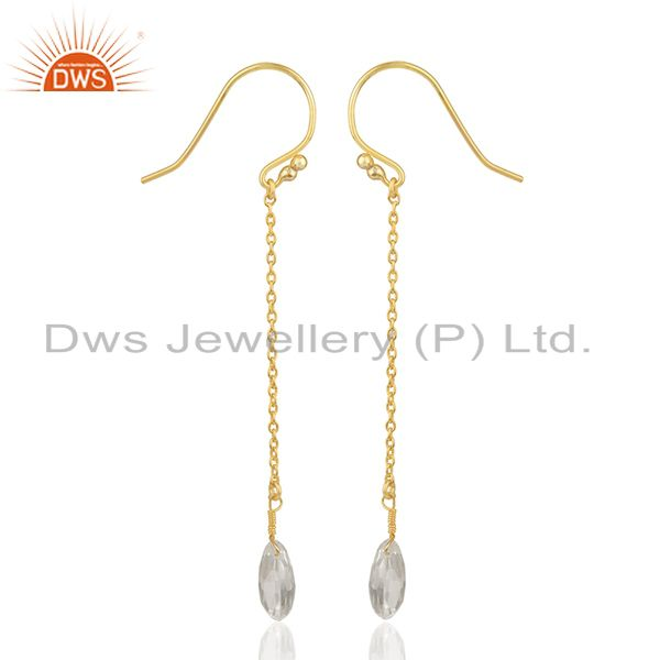 Suppliers Crystal Quartz 92.5 Sterling Silver Gold Plated Chain Earring Supplier