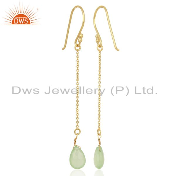 Suppliers Prehnite Chalcedony Simple Chain Gold Plated Wholesale Earring Jewelry