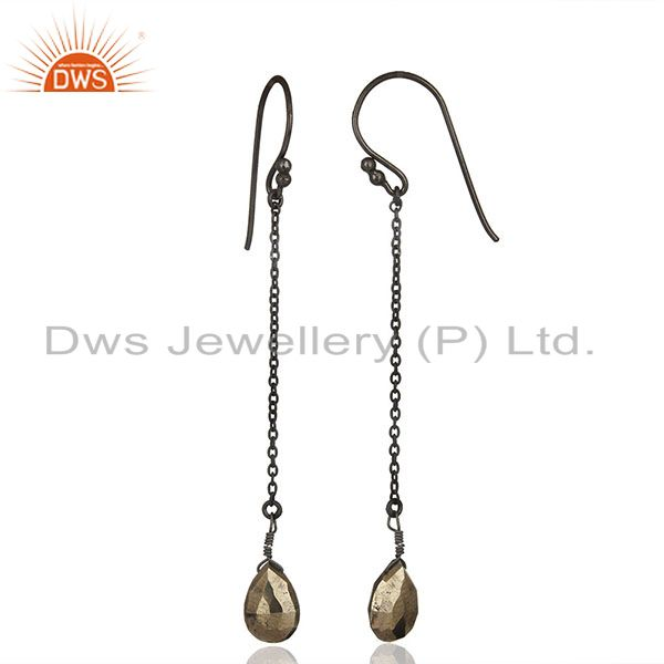 Suppliers Black Rhodium Plated 925 Silver Hematite Gemstone Earrings Supplier