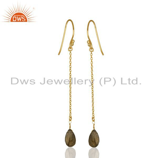 Suppliers 18K Rose Gold Plated Sterling Silver Labradorite Drop Long Chain Earrings