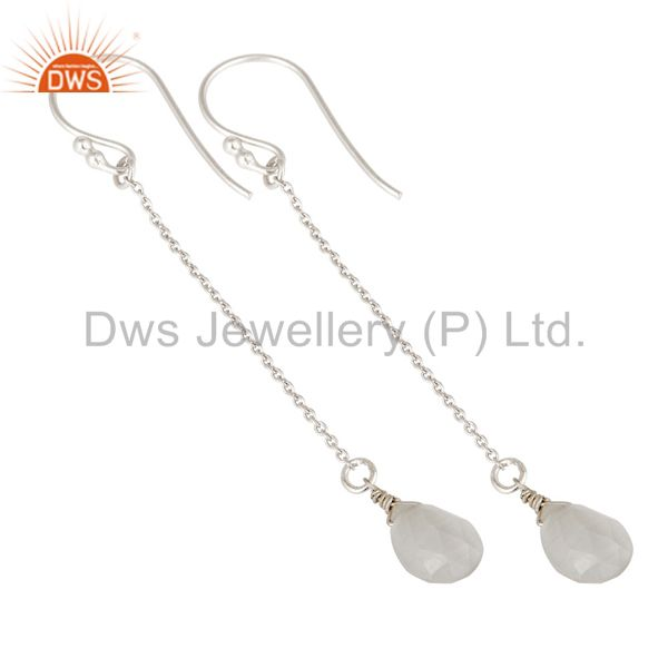 Designers Solid Sterling Silver White Moonstone Chain Drop Earrings