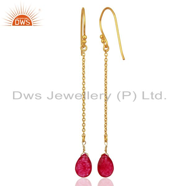 Suppliers Red Aventurine Gemstone Gold Plated 925 Silver Womens Earrings