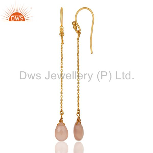 Designers 18K Gold Plated Sterling Silver Rose Chalcedony Drop Link Chain Dangle Earrings