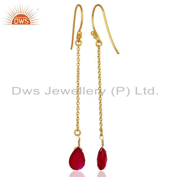 Suppliers Pink Chalcedony Gemstone 925 Silver Gold Plated Girls Chain Earring