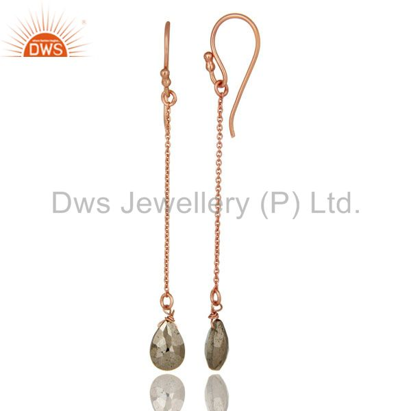 Designers 18K Rose Gold Plated Sterling Silver Golden Pyrite Briolette Dangle Earrings
