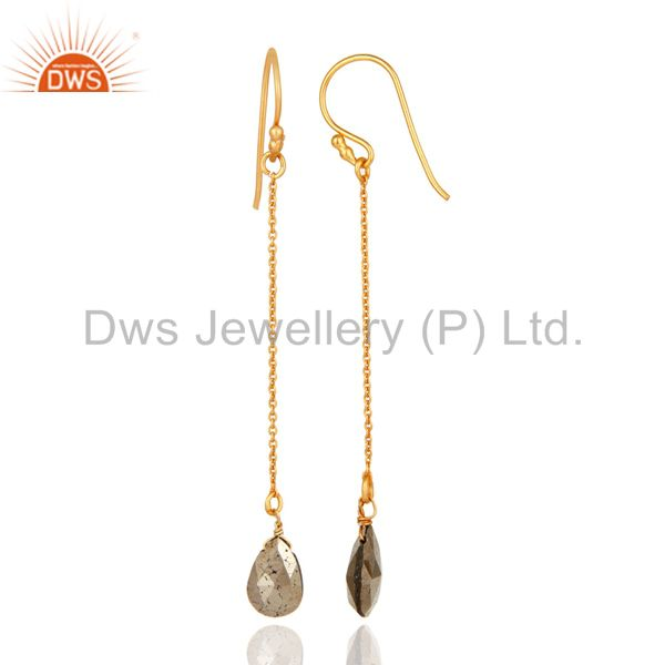 Designers 18K Yellow Gold Plated Sterling Silver Pyrite Teardrop Link Chain Dangle Earring