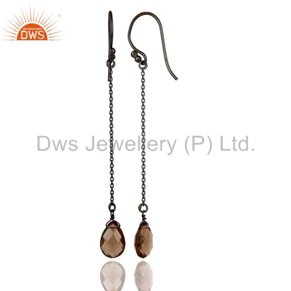 Designers Black Oxidized Sterling Silver Smoky Quartz Gemstone Briolette Chain Earrings