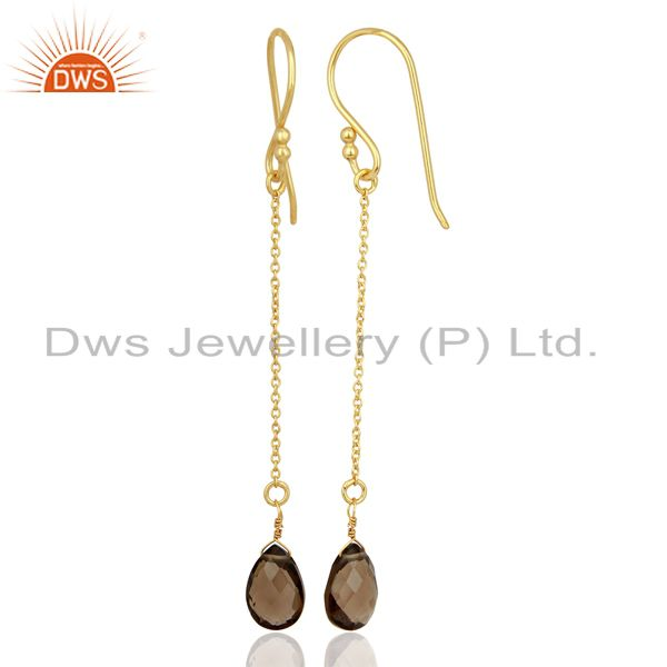 Designers Smoky Topaz Simple Chain Gold Plated Wholesale Earring Jewelry