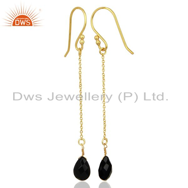 Suppliers Black Onyx Simple Chain Gold Plated Wholesale Earring Jewelry